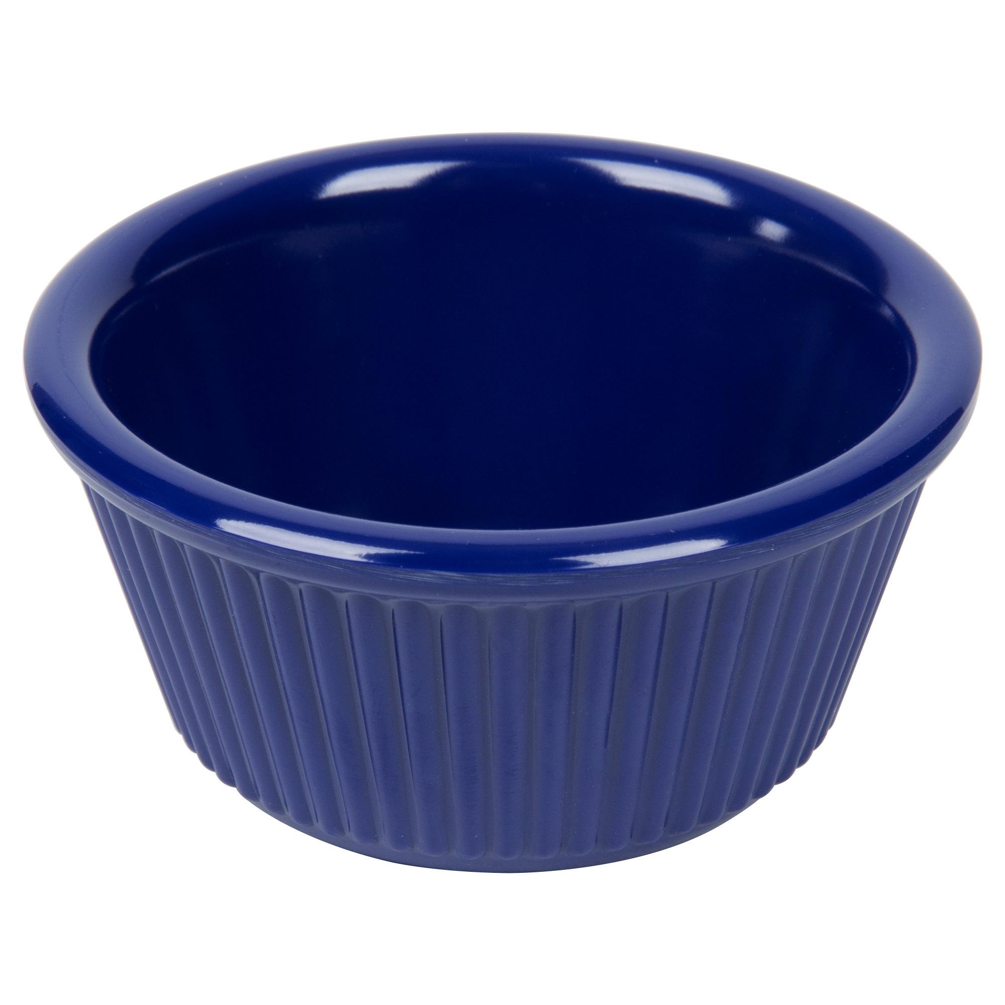 Navy blue round fluted melamine ramekin