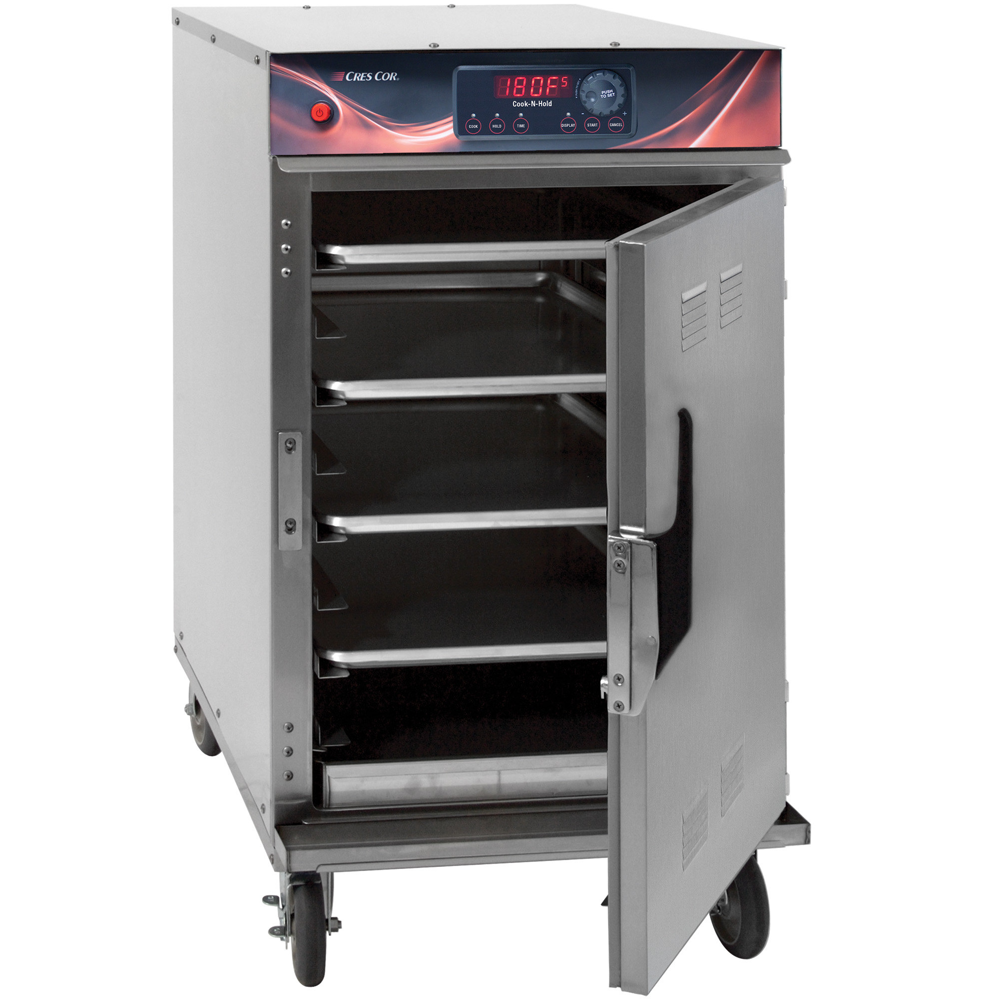 Cres Cor 1000CHSSSPLITDE half height cook and hold oven with door open, showing interior slides