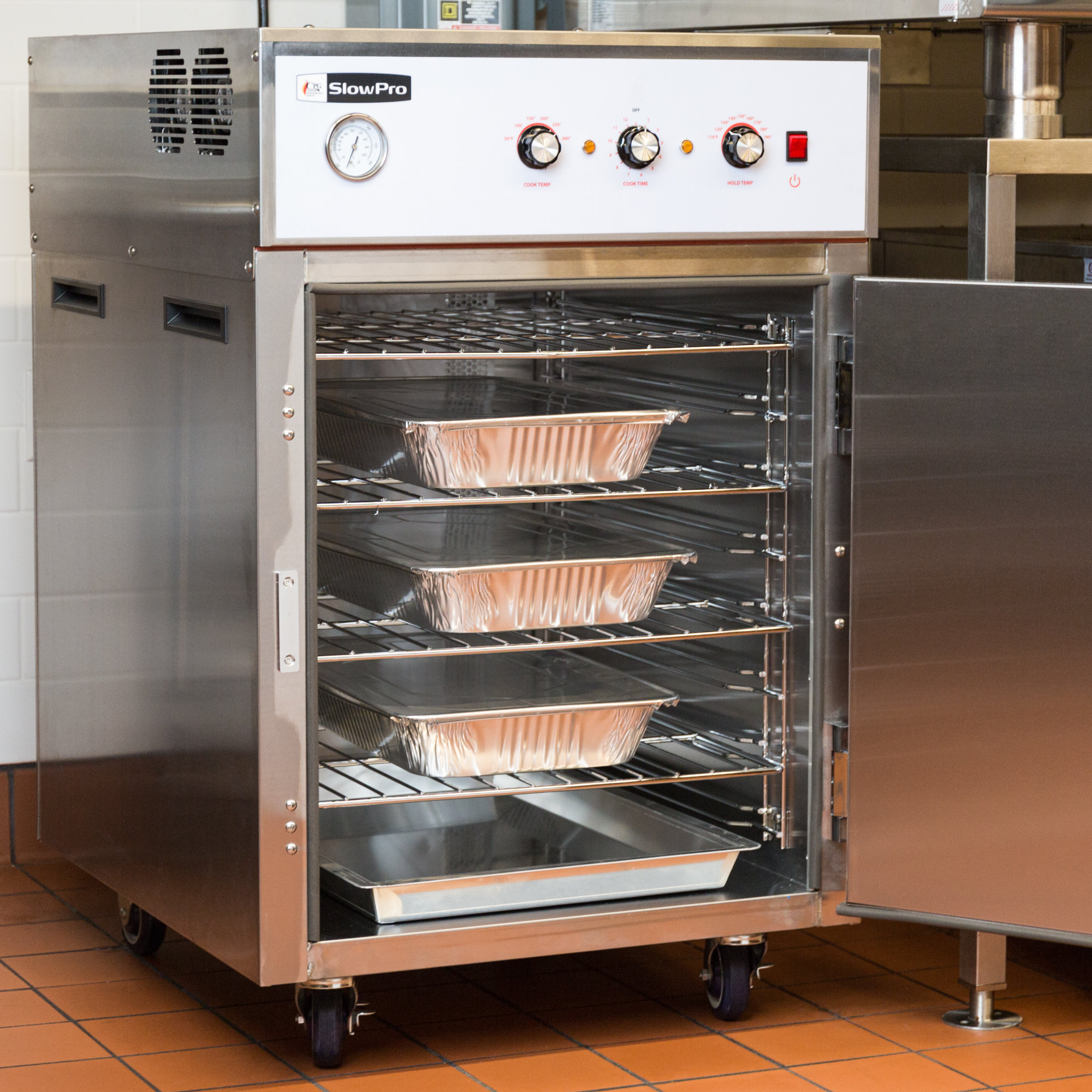 Cooking Performance Group CHSP1 SlowPro cook and hold oven with door open, showing interior shelving
