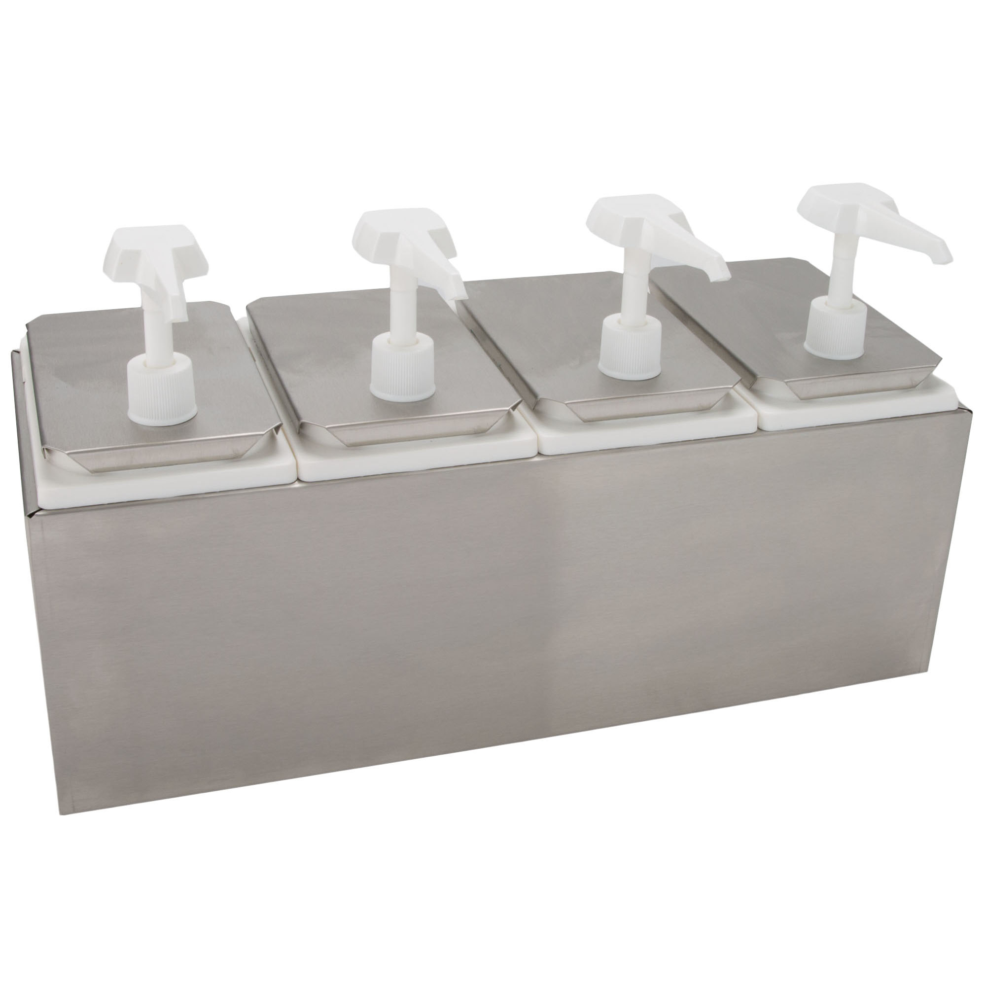 Stainless steel condiment pump dispenser with four white pumps