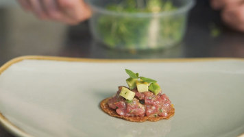 Beef and Bacon Tartare on Terrastone