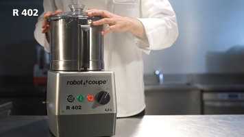 Robot Coupe R402 Combination Continous Feed Food Processor with 4.5 Qt. Stainless Steel Bowl