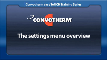 Cleveland Convotherm: Settings Menu