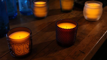 Sterno Flameless Wax Filled Glass Lamps