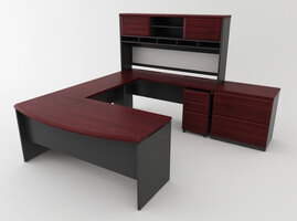 Ameriwood Home Commercial Office- Cherry and Gray