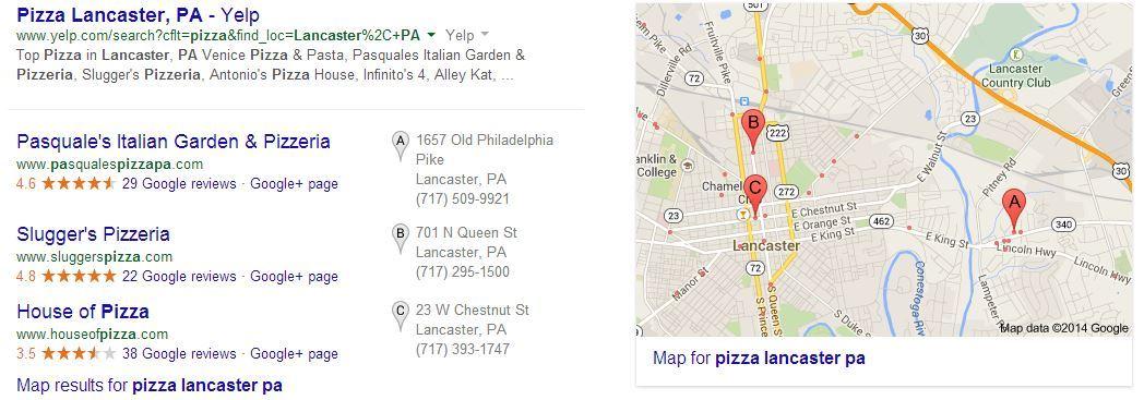listado de google de negocio de pizza
