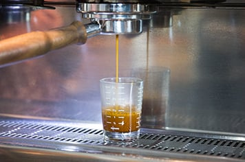 espresso machine making espresso