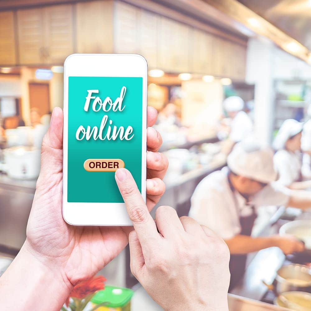 person ordering food on a phone app
