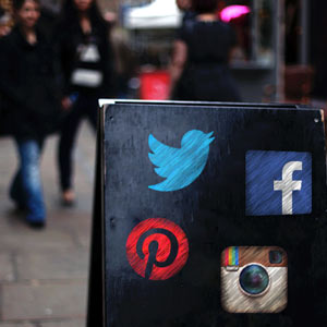 sign with social media icons