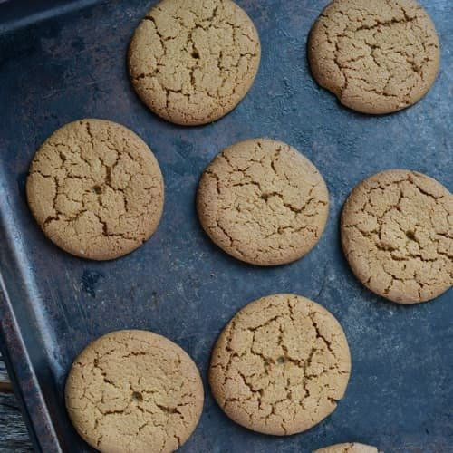 6 ginger snap cookies on a pan