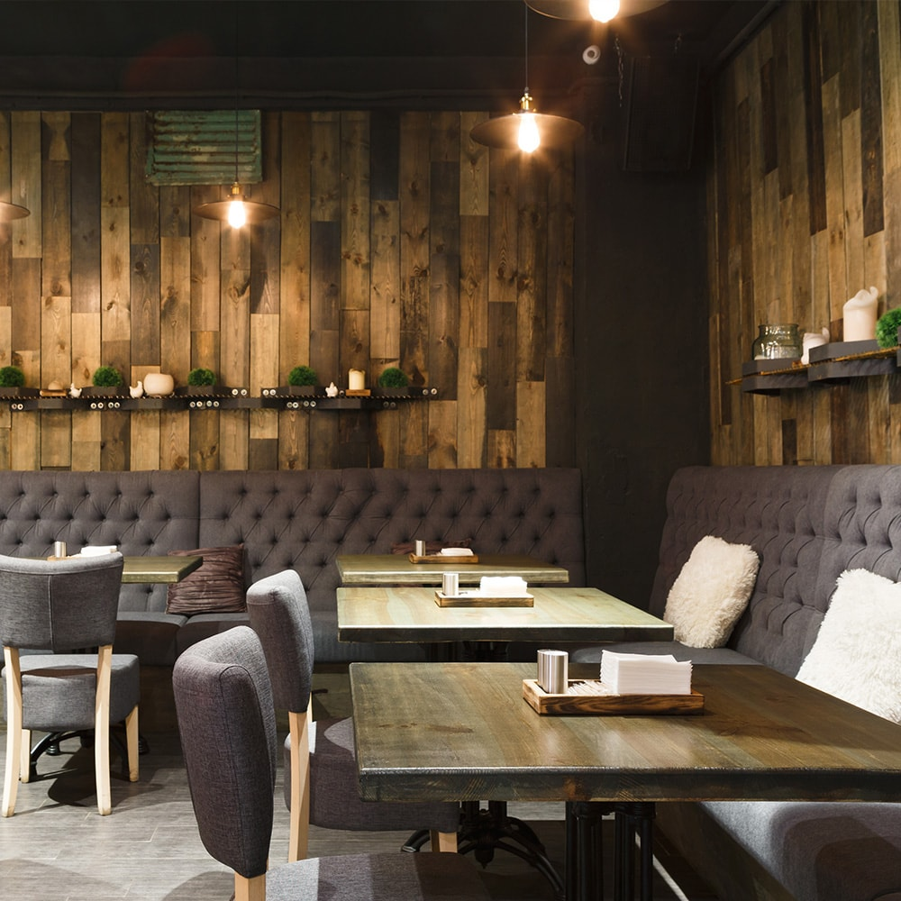 cozy cafe with wood paneling