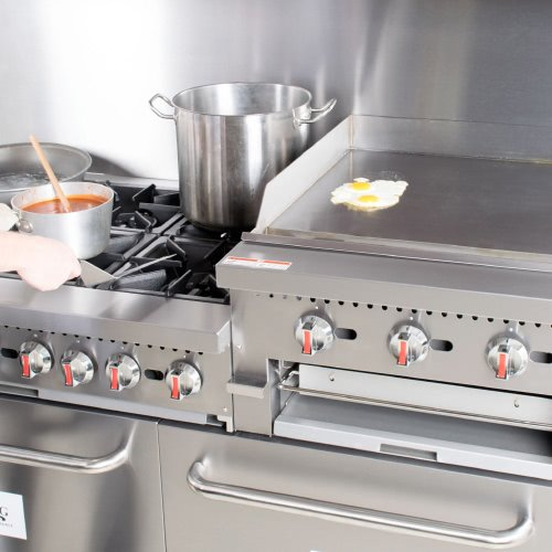 commercial equipment in a restaurant's kitchen