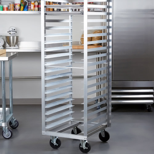 Empty mobile sheet pan rack in a commercial kitchen