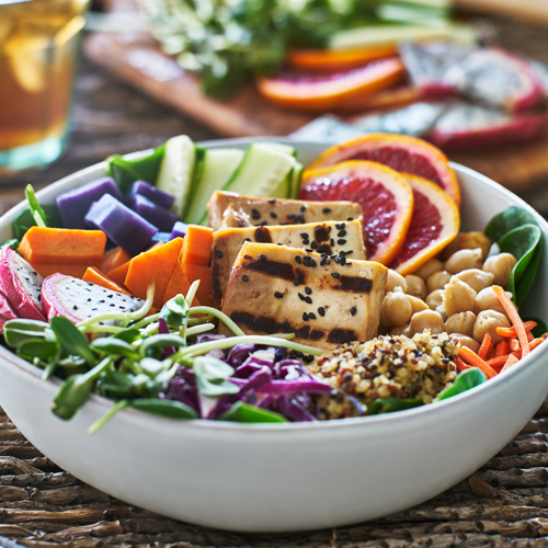 colorful buddha bowl with tofu