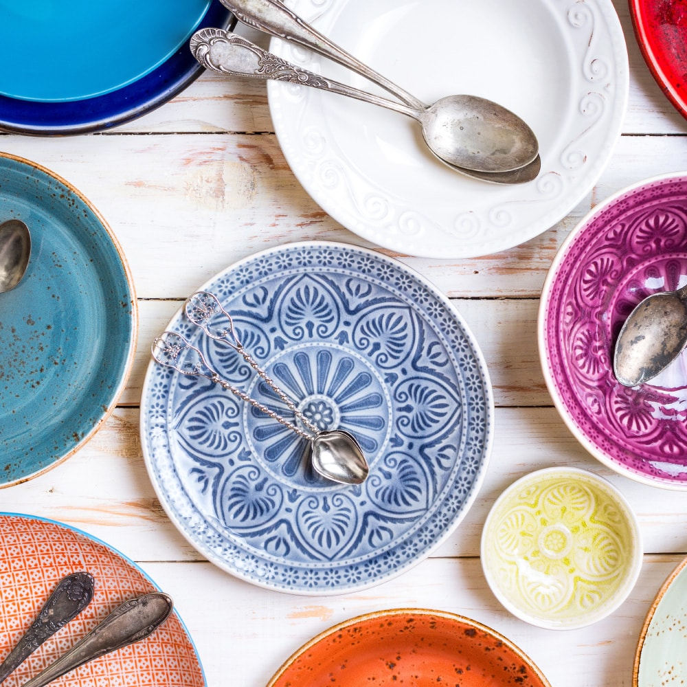 attractive Boho-style plates on a table