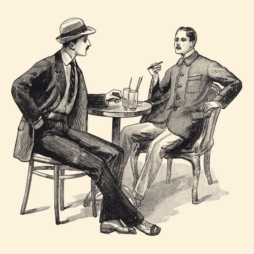Vintage photo drawing of two men sitting at a table having a conversation over drinks