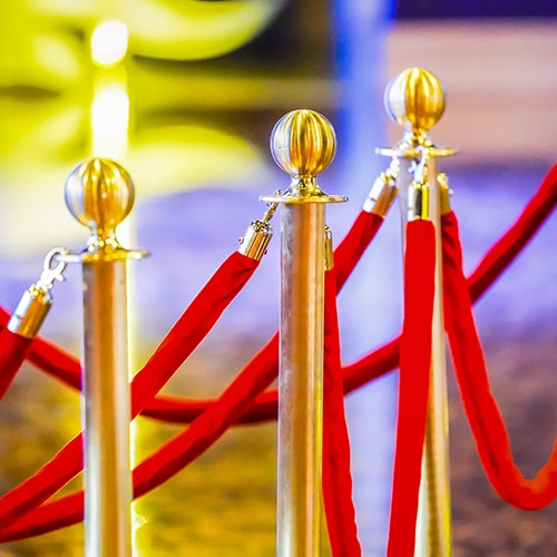 Red velvet ropes and gold stanchions