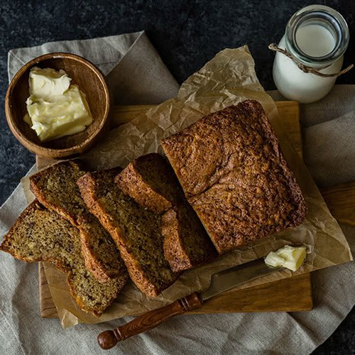 Butter and banana bread on a table