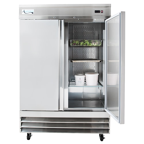 Stainless steel reach in refrigerator with doors open