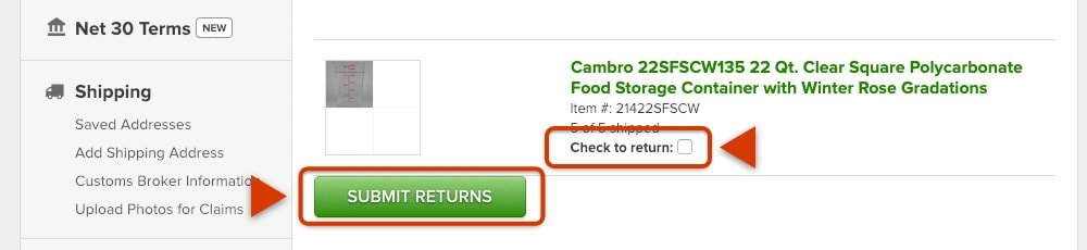 Image of WebstaurantStore website return items selection