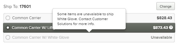 White Glove Shipping Unavailable