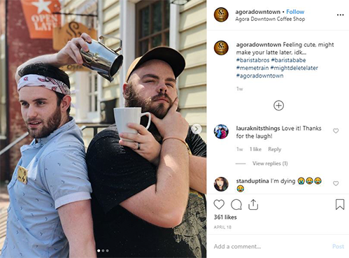 two baristas holding coffee cups next to Instagram comments