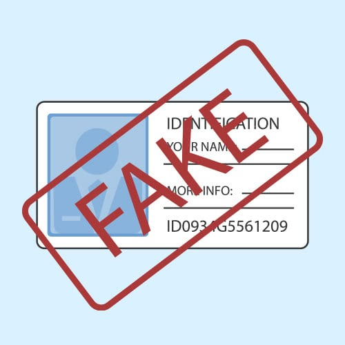 illustrated ID card with the word 'Fake' stamped on it in red