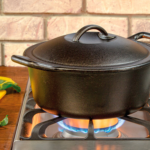 a Cast Iron Dutch Oven on the stove