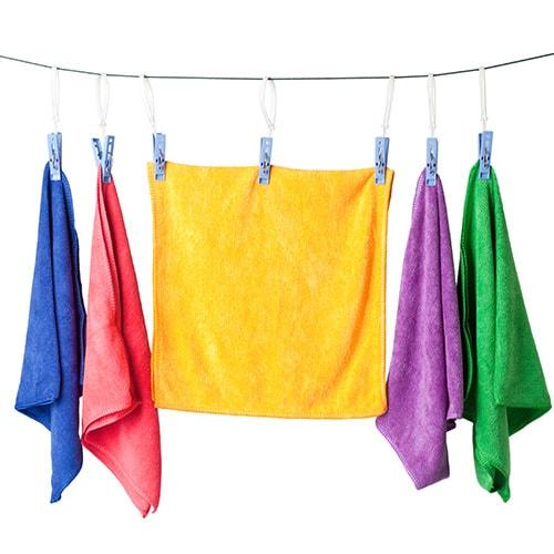Microfiber cloths hung to dry