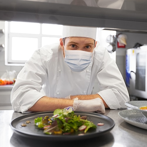 Restaurant Chef in Uniform Wearing a Face Mask and Latex Gloves