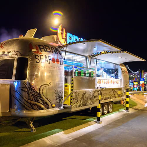 Seafood Food Trailer at night
