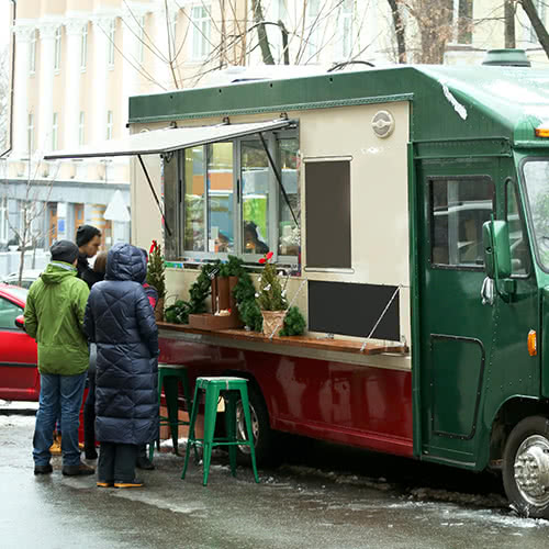 Holiday Food Truck with customers