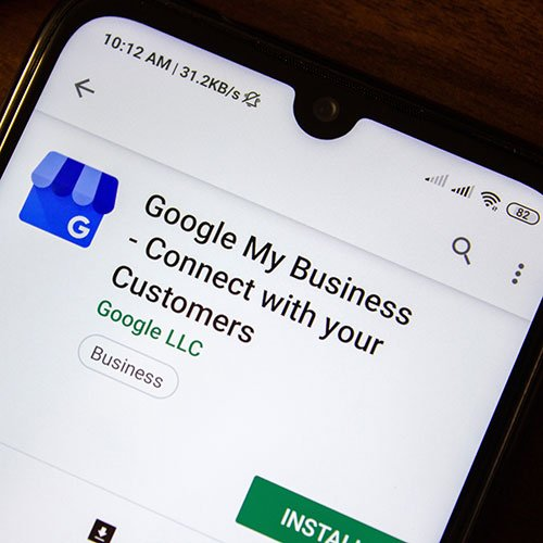 google my business connect with your customers app on the display of smartphone or tablet