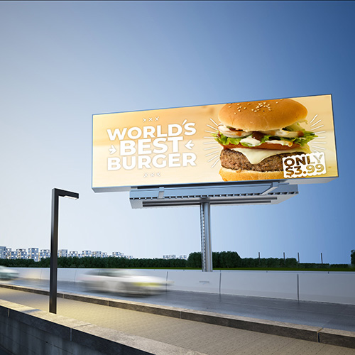 burger billboard mockup on highway