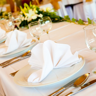 Wedding Table with Chinaware and Glassware
