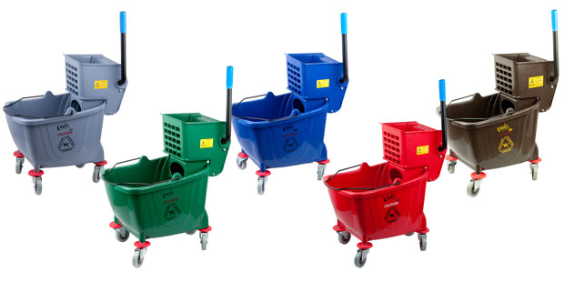 multiple colorful mop buckets