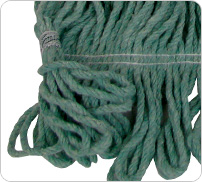 green looped end mop