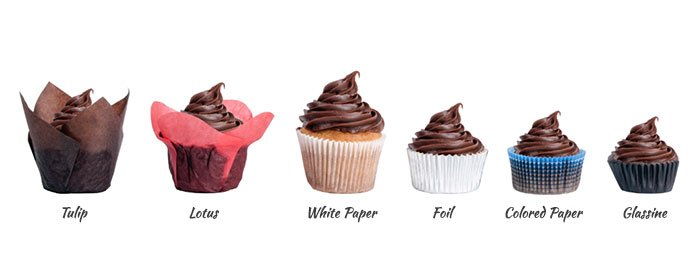 Graphic showing different types of baking cups, including tulip, lotus, white paper, foil, colored paper, and glassine