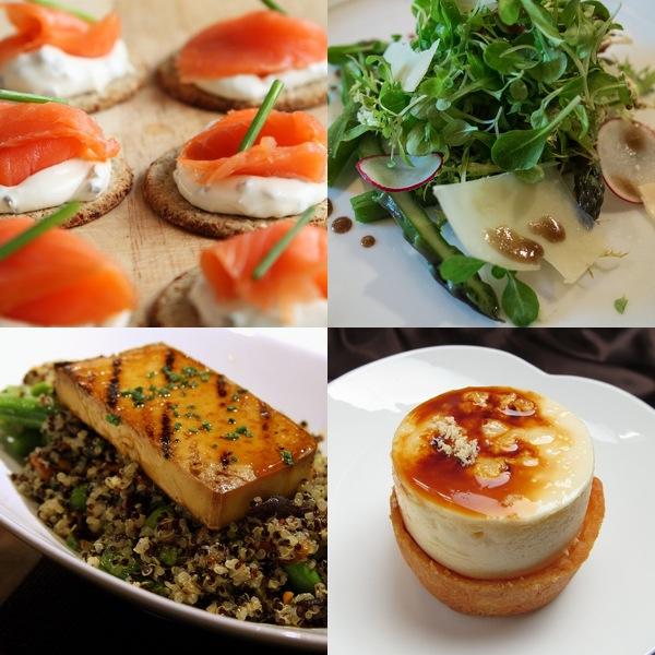 comida de cuatro platos