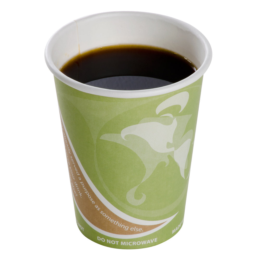 degradable paper hot cup filled with coffee