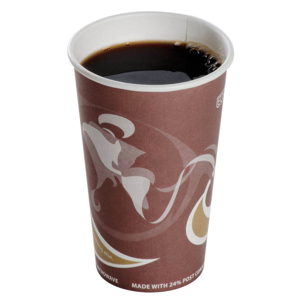 recyclable paper hot cup filled with coffee