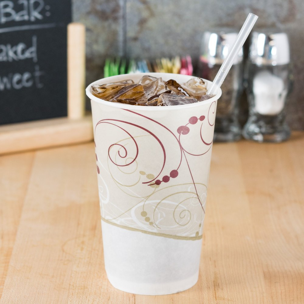 wax-coated paper cold cup filled with soda