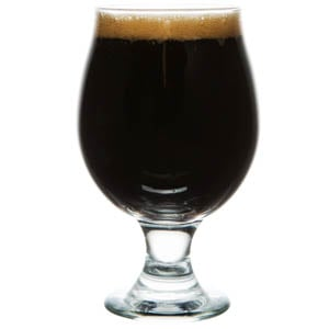 Belgian beer glass full of American Imperial Stout