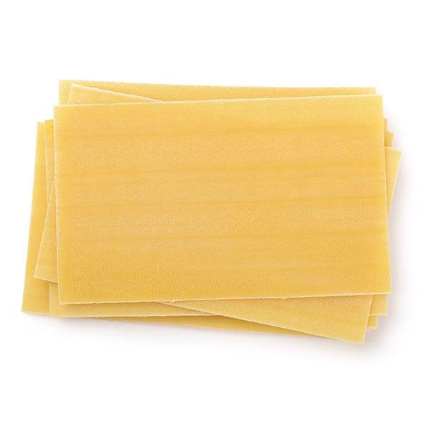 Close up of dry lasagna noodles