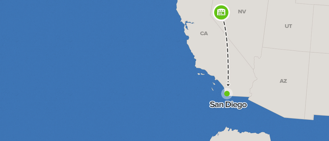 shipping map for San Diego