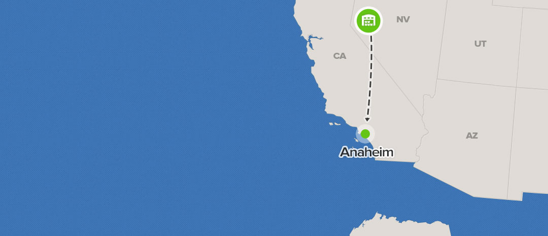 shipping map for Anaheim