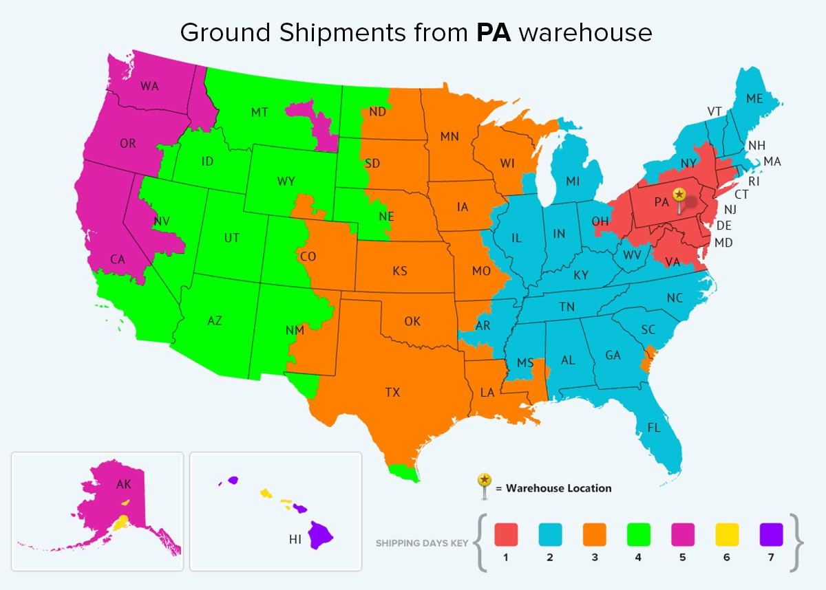 Pennsylvania Ground Warehouse Location Shipping