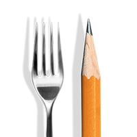 fork and pencil