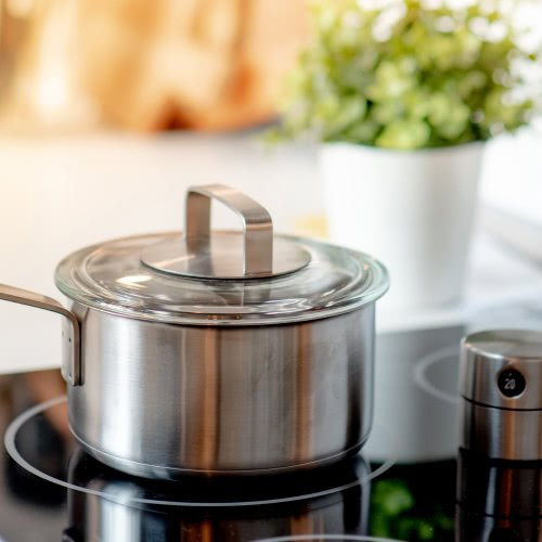 stainless steel pot on an induction cooktop