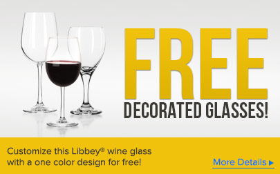 Customize this Libbey wine glass with a one color design for free!
